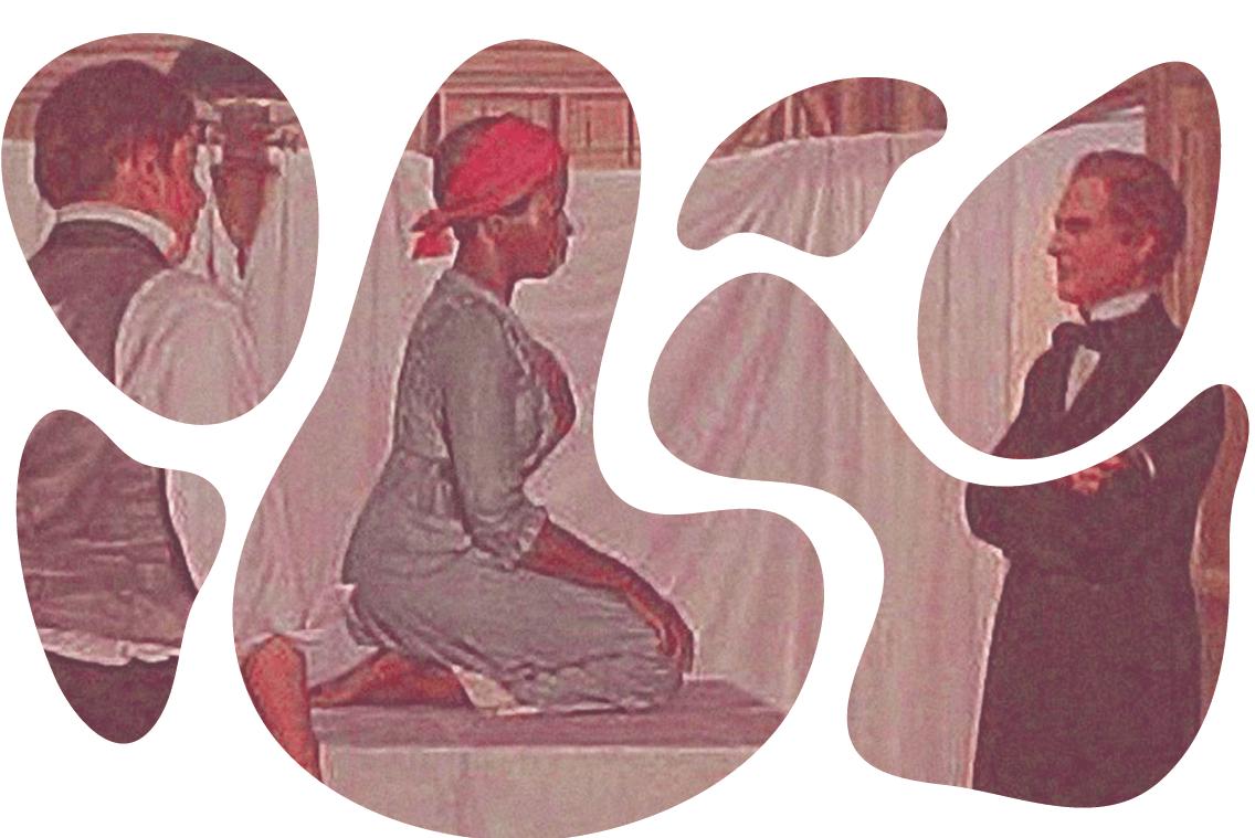 mulher sentada em uma mesa com dois homens em volta