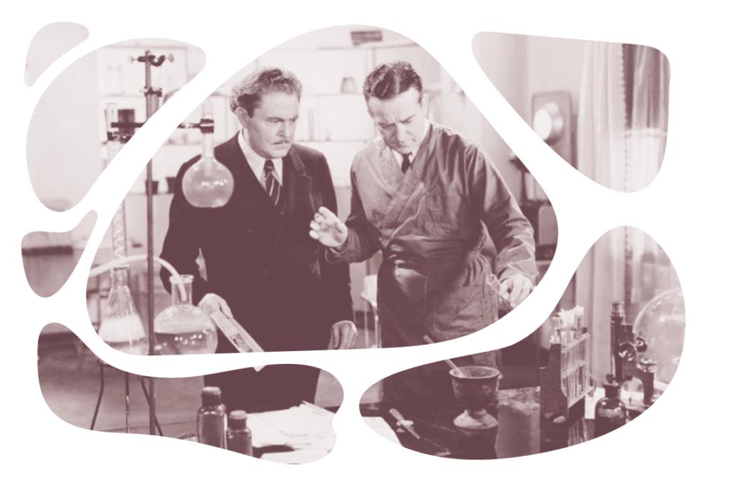 cientistas homens fazendo experimentos